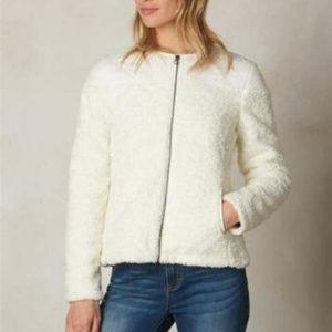 Prana Good Lux White Fleece Zip up Jacket  NWT